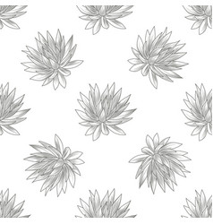Hand drawn blue agave seamless pattern succulent vector