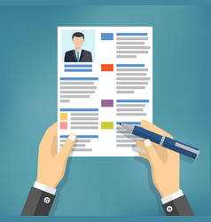 hands of businessman fill a resume vector image