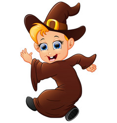 Happy little witch cartoon walking vector