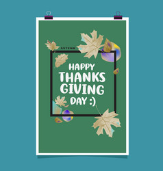 happy thanksgiving with autumn leaves background vector image