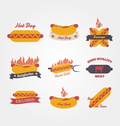 Hot dog flat design vintage label vector