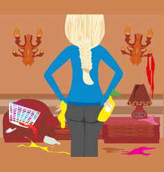 housewife cleaning at home vector image