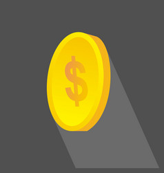Investment coins icon flat design with long vector