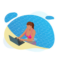isometric young woman working on beach with a vector image