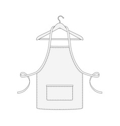 Kitchen apron on hanger isolated on white vector
