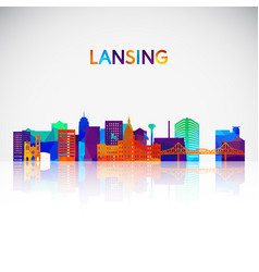 lansing skyline silhouette in colorful geometric vector image
