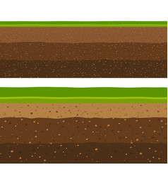 Layers of grass with underground layers of earth vector