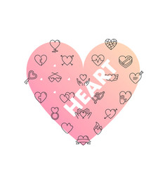 line icons in heart shape heart vector image