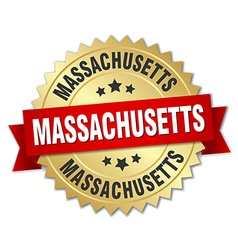 Massachusetts round golden badge with red ribbon vector