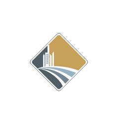 Modern building design company logo vector