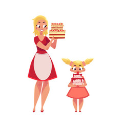 mother and daughter holding birthday cakes vector image