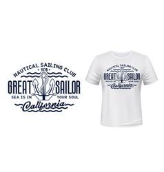 nautical sailing club t-shirt print mockup vector image