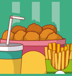 Nugget combo fast food vector