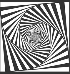 Optical spiral illusion black and white vector