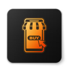 orange glowing mobile phone and shopping cart with vector image