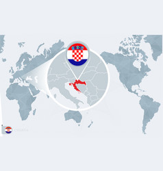 Pacific centered world map with magnified croatia vector