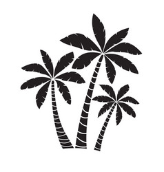 palm trees silhouettes isolated on white vector image