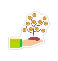 Paper sticker on white background money tree hand vector