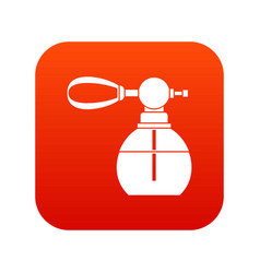 Perfume bottle with vaporizer icon digital red vector