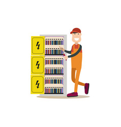 Professional electrician in vector