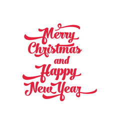 red text on a white background merry christmas vector image