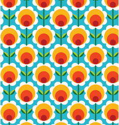 Retro geometric flowers pattern 03 vector