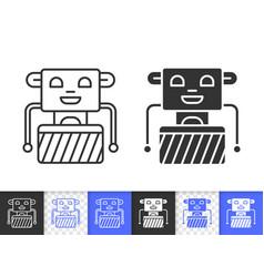 Robot simple black line icon vector