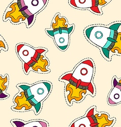 Rocket ship patch icon pattern in hand drawn style vector
