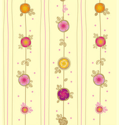 Rose and leaves with in vertical liners vector