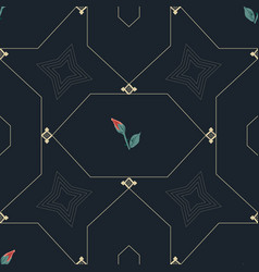 roses and gold chain hexagon pattern vector image