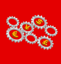 Rotating 3d gears with currency symbols inside vector
