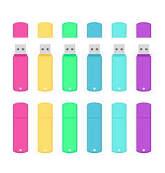 Rounded usb flash drives colorful set vector