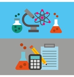 Scientific laboratory flat line icons vector