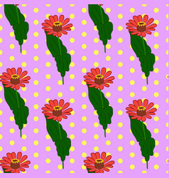 Seamless floral pattern with red zinnia flowers vector
