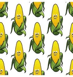 Seamless pattern of cartoon corn on the cob vector