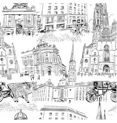 seamless pattern vienna austria hand drawn vector image