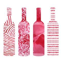 Set of art watercolor wine bottles vector