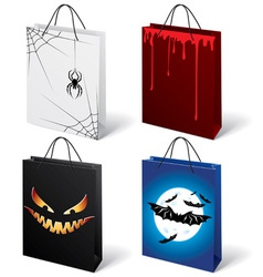 Set of halloween shopping bags vector