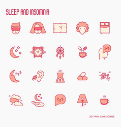 sleep and insomnia thin line icons set vector image
