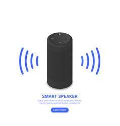 Smart voice assistant black portable loudspeaker vector