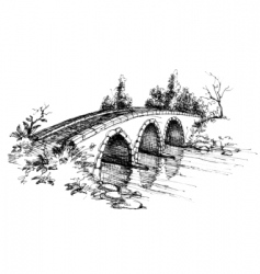 stone bridge over river sketch vector image