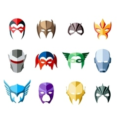 Super hero masks for face character in flat vector