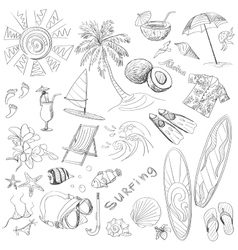 surfing hand draw doodles vector image