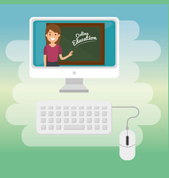 Teacher woman with desktop online education vector