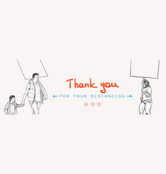 thank you for your distancing covid-19 banner vector image
