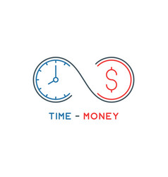 Thin line time is money concept vector