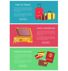time to travel preparation money and passport vector image