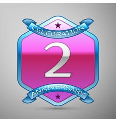 v years anniversary celebration silver logo with vector image