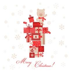 Vintage Christmas Card - Christmas Gifts with Bear vector