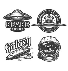 vintage space logos collection vector image